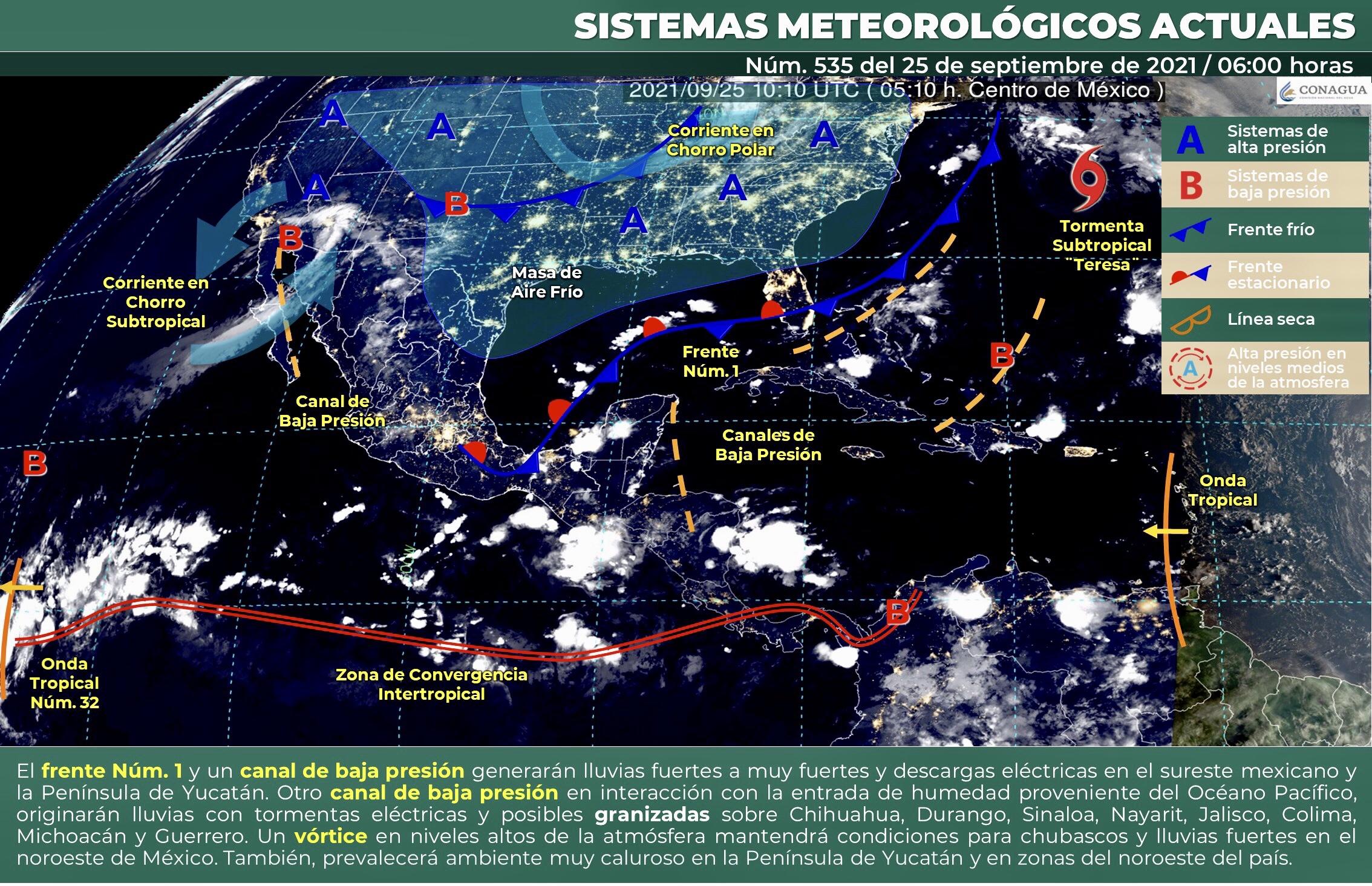 Se pronostica para Colima intervalos de chubascos con lluvias puntuales fuertes.